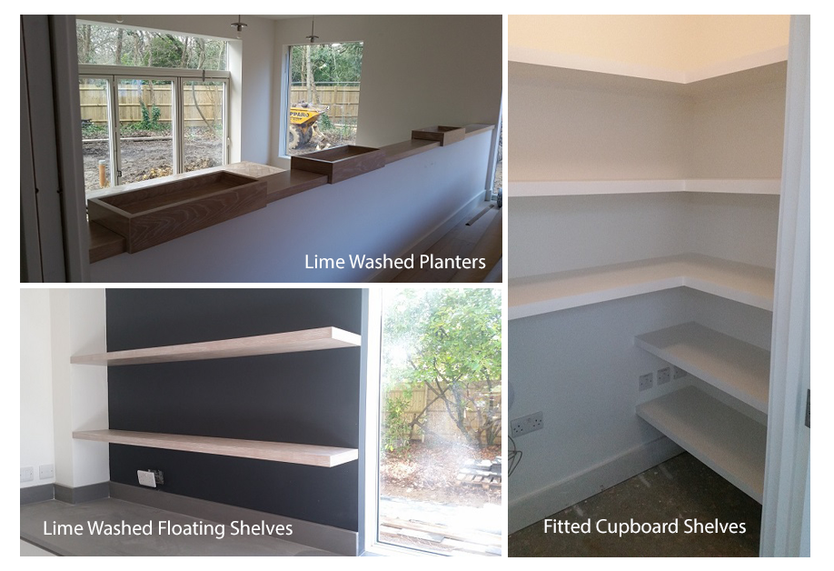 Cumberland house bespoke joinery including Fitted cupboard Shelves, Lime Washed Planters and Lime washed Floating Shelves