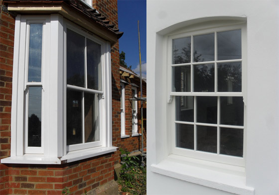 Internal and external view of sash windows
